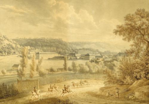 julie feray, la manufacture d'oberkampf à Jouy-en-Josas, 1811, Aquarelle, plume et encre brune sur papier, musée de la toile de jouy, inv. 009.4.1.1.